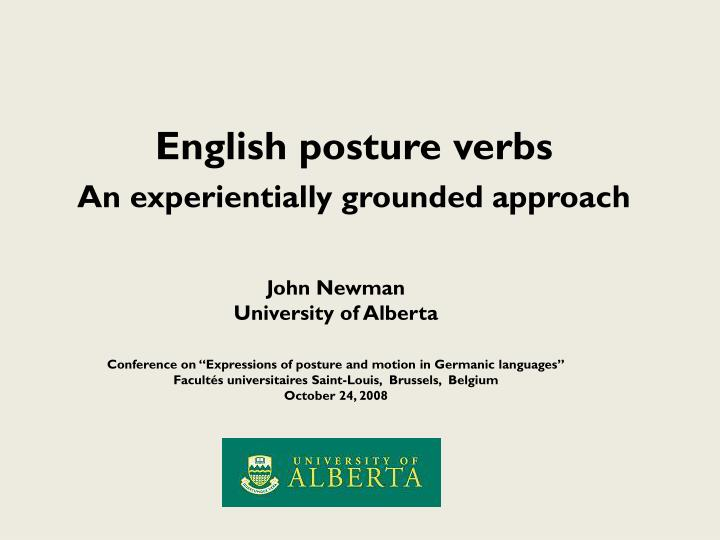 English posture verbs an experientially grounded approach