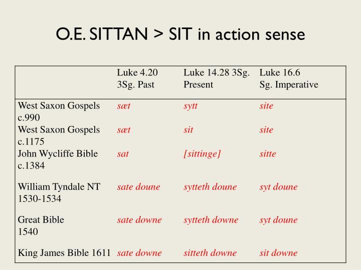 O.E. SITTAN > SIT in action sense