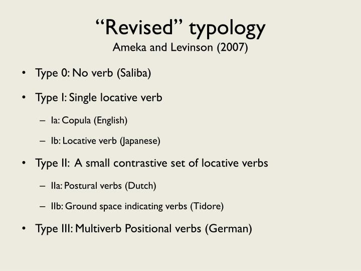 """""""Revised"""" typology"""