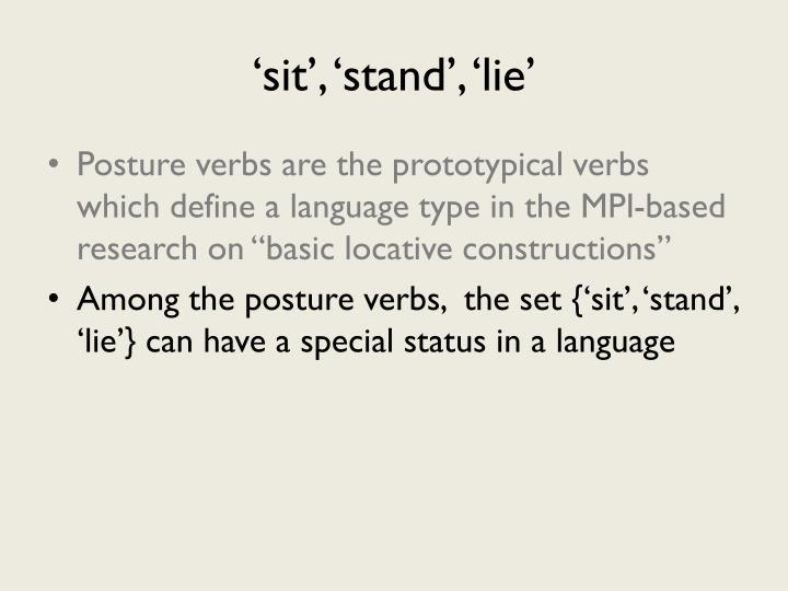 'sit', 'stand', 'lie'