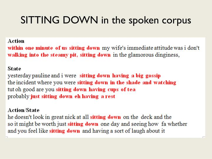 SITTING DOWN in the spoken corpus