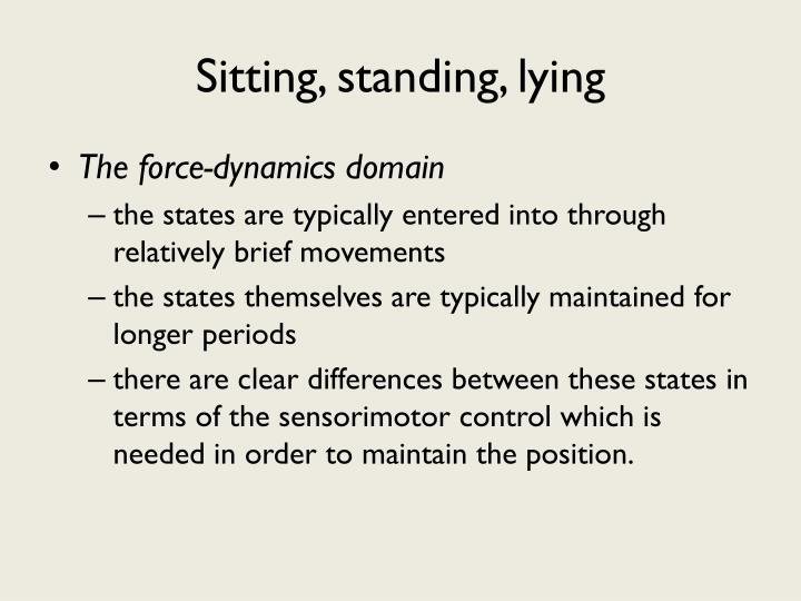 Sitting, standing, lying