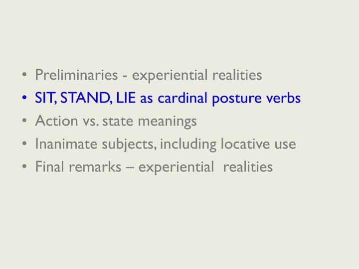 Preliminaries - experiential realities