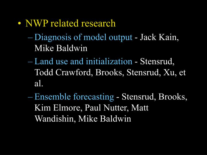 NWP related research