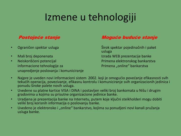 Izmene u tehnologiji