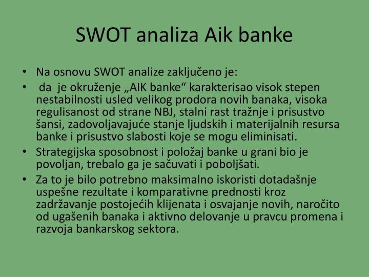 SWOT analiza Aik banke