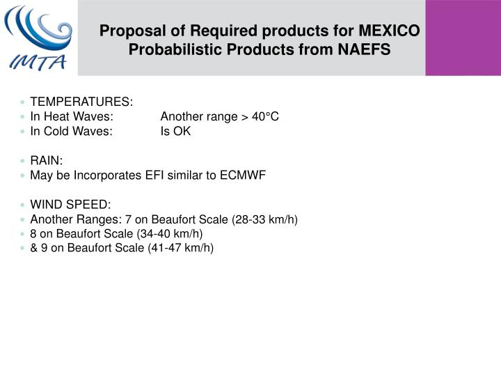 Proposal of Required products for MEXICO