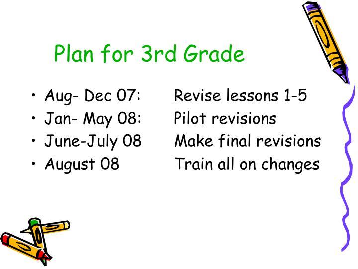 Plan for 3rd Grade