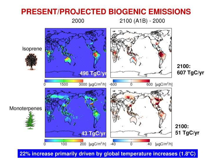 PRESENT/PROJECTED BIOGENIC EMISSIONS
