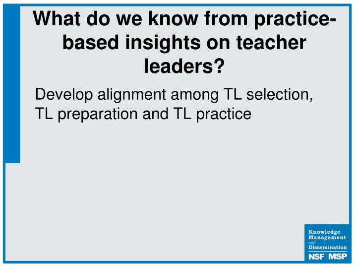 Develop alignment among TL selection, TL preparation and TL practice