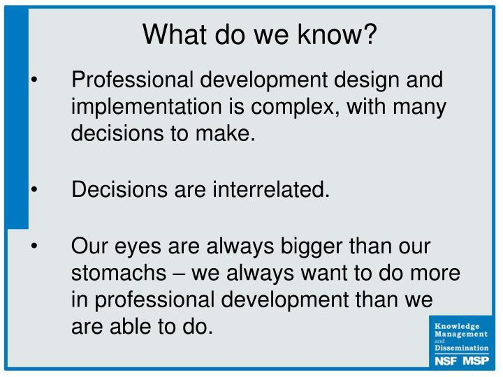 Professional development design and implementation is complex, with many decisions to make.