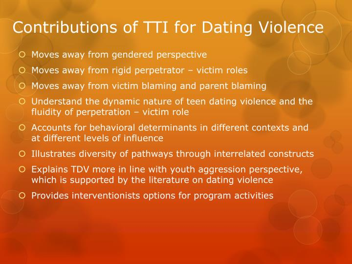 Contributions of TTI for Dating Violence
