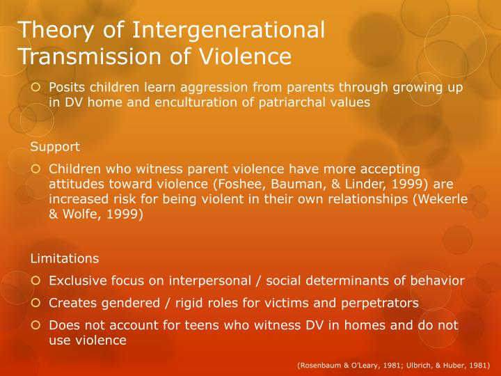 Theory of Intergenerational Transmission of Violence