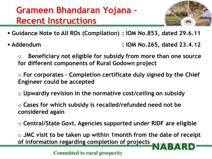 Grameen Bhandaran Yojana – Recent Instructions
