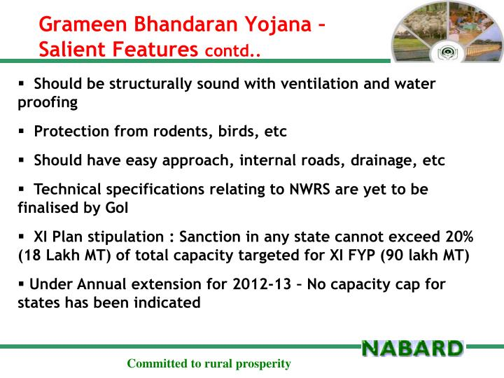 Grameen bhandaran yojana salient features contd