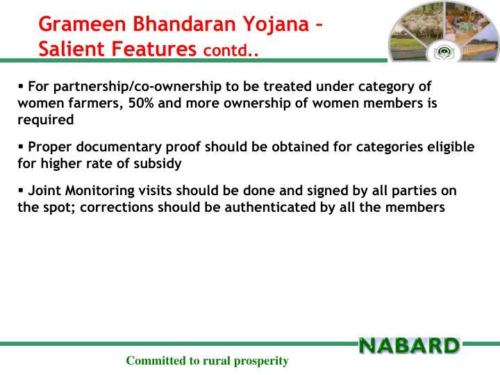 Grameen Bhandaran Yojana – Salient Features