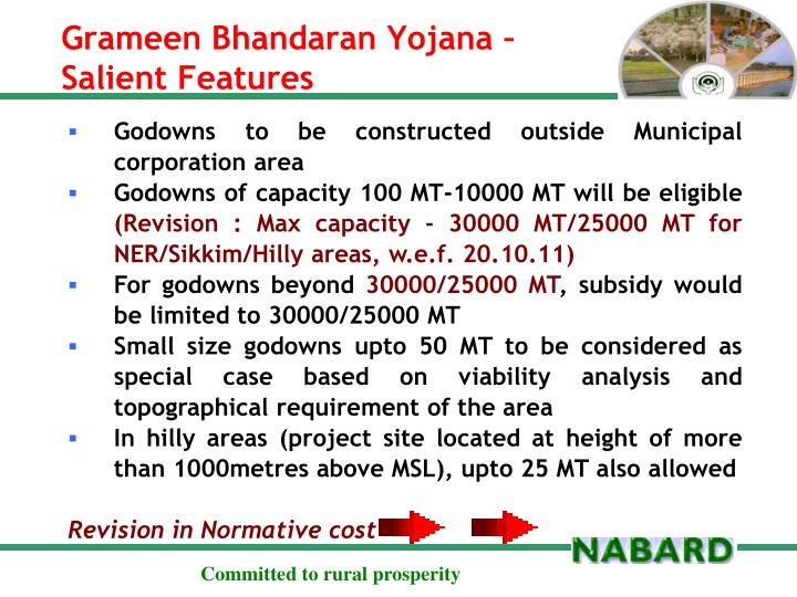 Grameen bhandaran yojana salient features