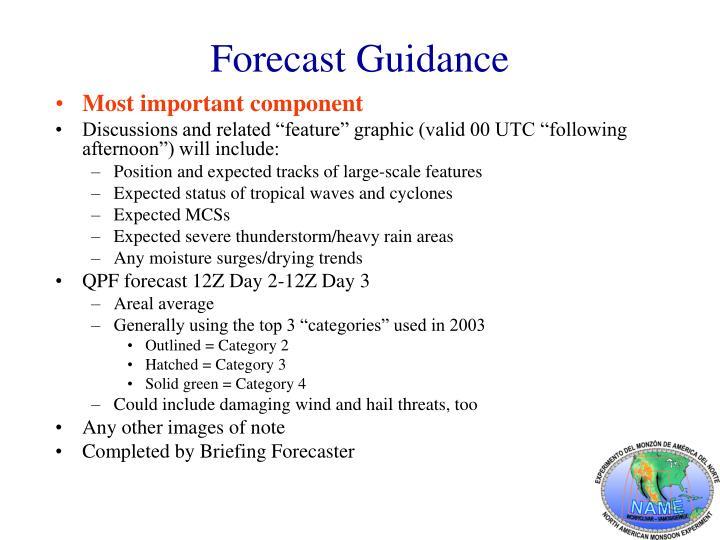 Forecast Guidance