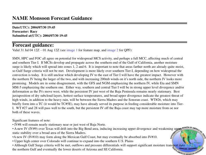 NAME Monsoon Forecast Guidance