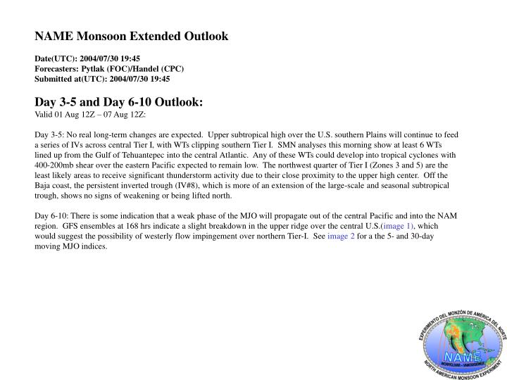 NAME Monsoon Extended Outlook