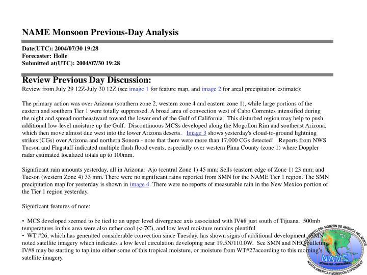 NAME Monsoon Previous-Day Analysis