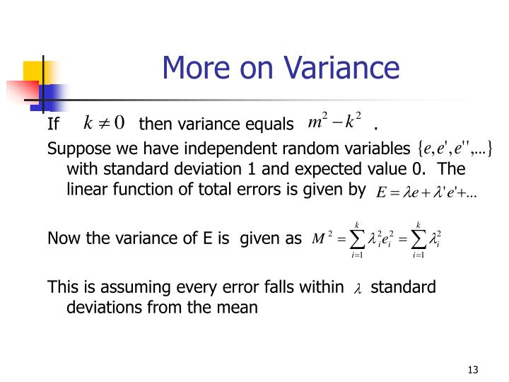 More on Variance