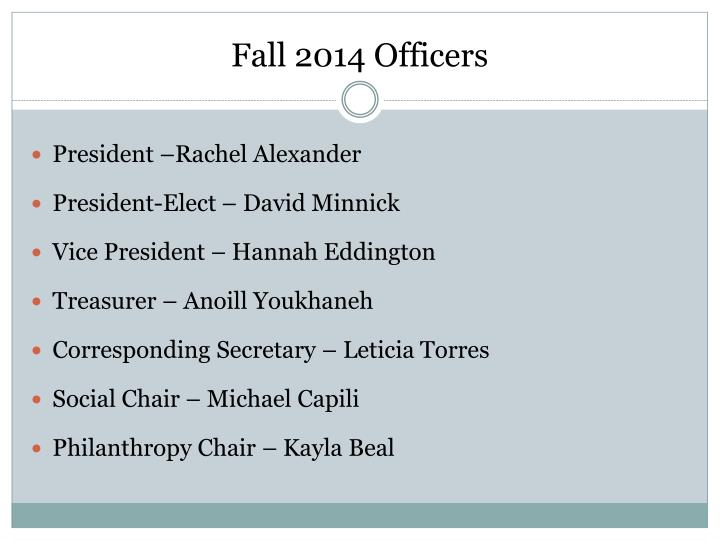 Fall 2014 Officers