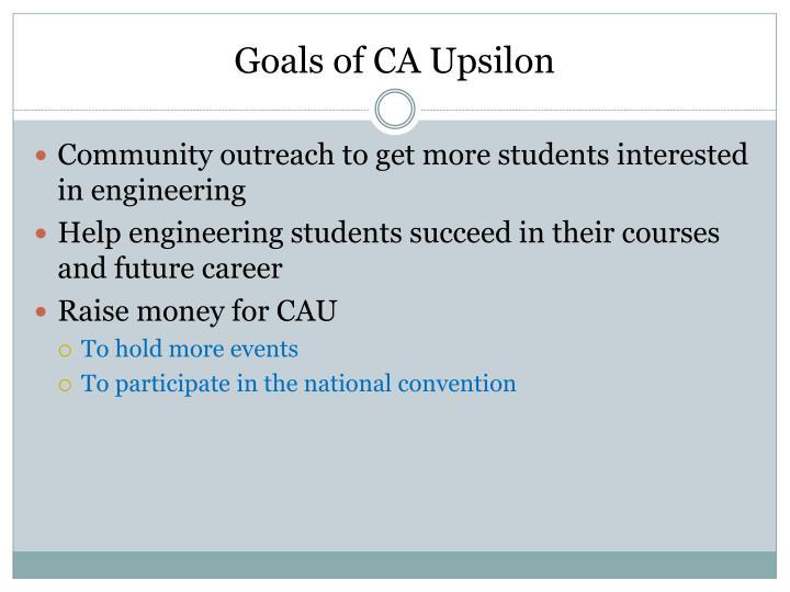 Goals of CA Upsilon