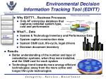 environmental decision information tracking tool editt