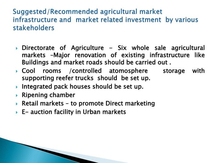 Suggested/Recommended agricultural market infrastructure and  market related investment  by various stakeholders