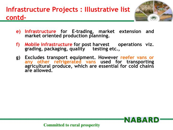 Infrastructure Projects : Illustrative list contd-