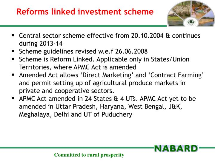 Reforms linked investment scheme