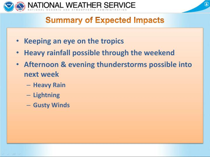 Summary of Expected Impacts