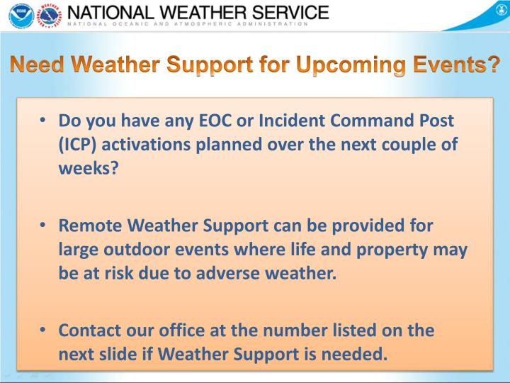 Need Weather Support for