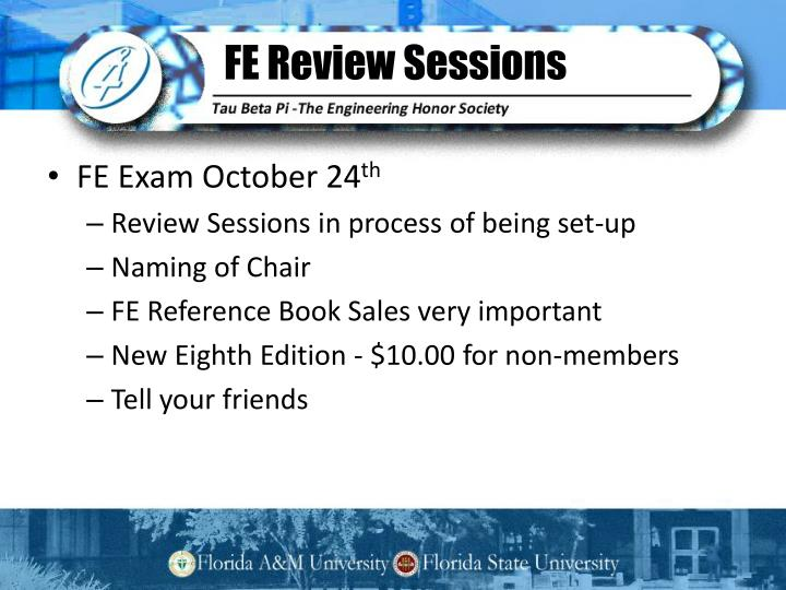 FE Review Sessions