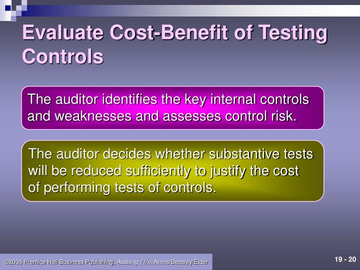 Evaluate Cost-Benefit of Testing Controls