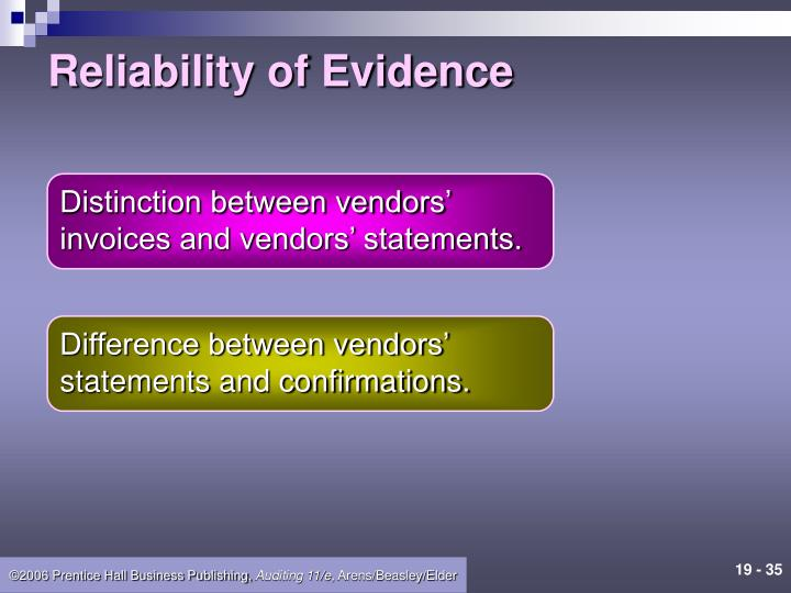 Reliability of Evidence