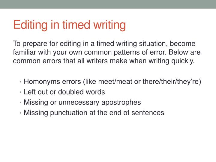 Editing in timed writing