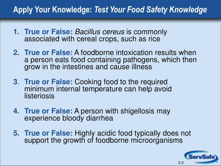 Apply your knowledge test your food safety knowledge