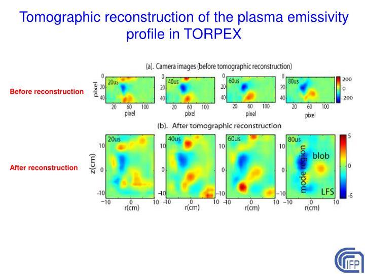 Tomographic reconstruction of the plasma emissivity profile in TORPEX