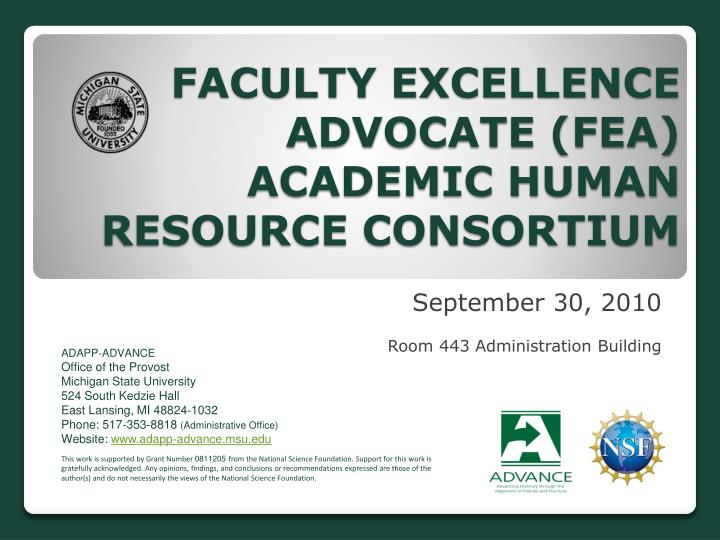 Faculty excellence advocate fea academic human resource consortium