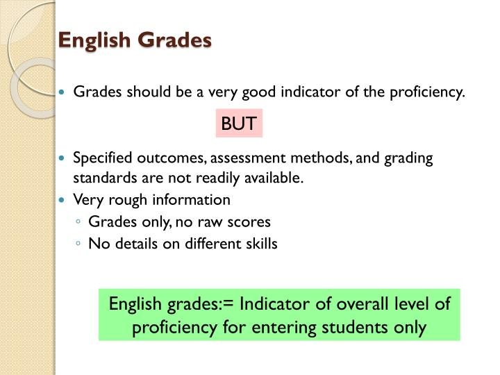 Grades should be a very good indicator of the proficiency.