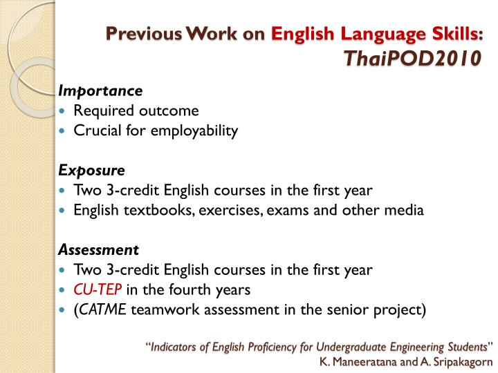 Previous work on english language skills thaipod2010