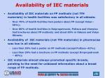 availability of iec materials