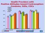 health providers with positive attitudes toward contraception condoms iuds cocs