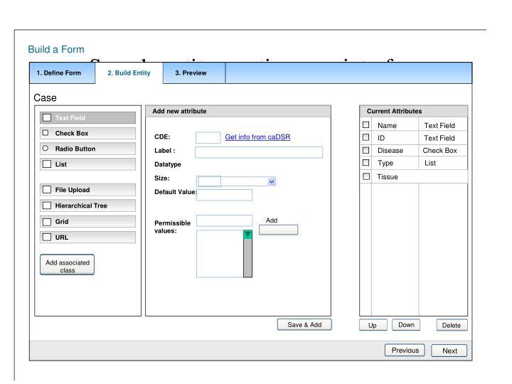 Sample entity creation user interface