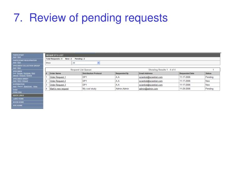 7.  Review of pending requests