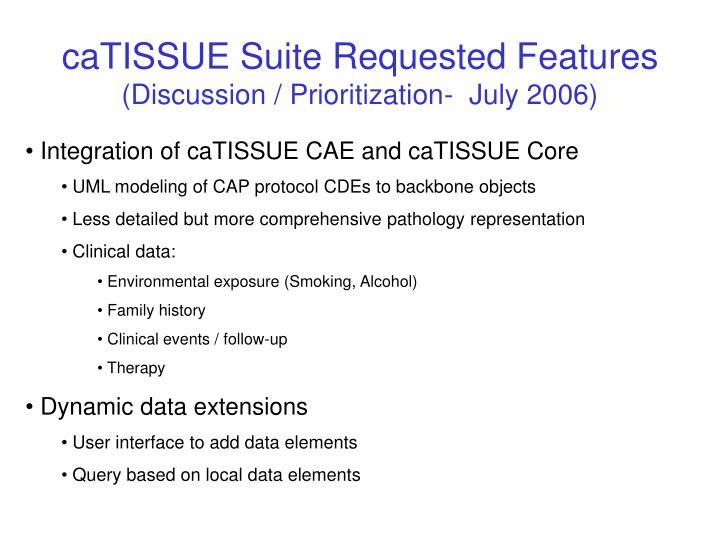 caTISSUE Suite Requested Features