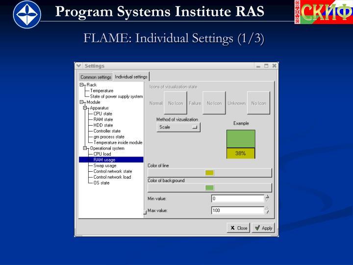 FLAME: Individual Settings (1/3)