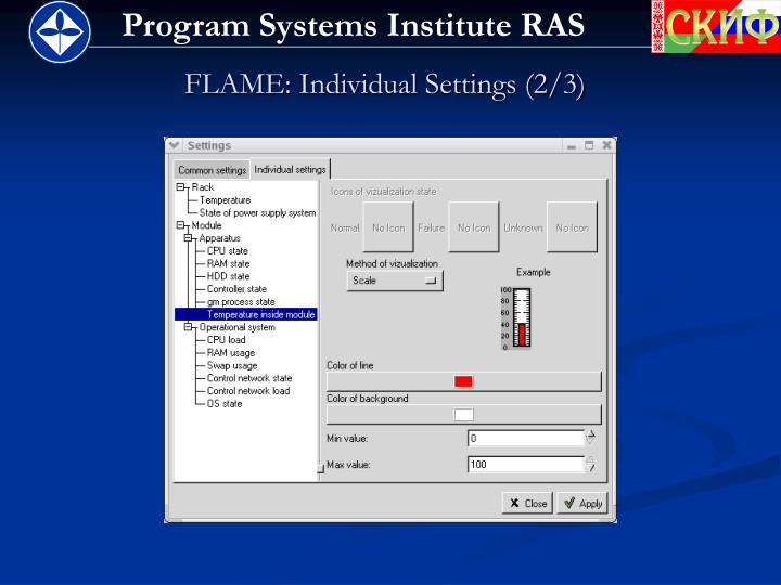 FLAME: Individual Settings (2/3)